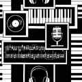 Seamless Pattern Of Musical Attributes Royalty Free Stock Photos - 39015198