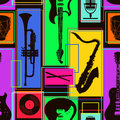 Seamless Pattern Of Musical Instruments Royalty Free Stock Photo - 39015235
