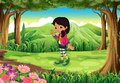 A Jungle With A Fashionable Young Girl Royalty Free Stock Images - 39024399