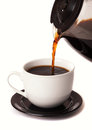 Coffee Pouring Into Cup Royalty Free Stock Image - 39045616