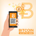 Bitcoin Accepted, Smartphone With QR Code Royalty Free Stock Photography - 39047307