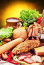 Variety Of Sausage Products. Stock Photo - 39051450