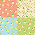 Heart Of Apples In Seamless Pattern With Polka Dot Stock Photos - 39061193