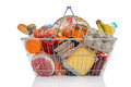 Shopping Basket Full Of Groceries Isolated Stock Photography - 39073982