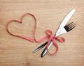 Valentine S Day Red Ribbon And Silverware Stock Images - 39075064