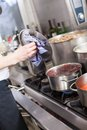Cooking In A Commercial Kitchen Royalty Free Stock Image - 39089456
