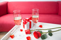 Champagne Glasses And Red Rose Royalty Free Stock Image - 39092736