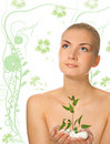 Girl Holding Young Plant Royalty Free Stock Image - 3912906