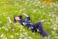 Woman Relaxing Flower Field Stock Photography - 39137332