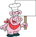 Cartoon Pig Holding A Sign. Stock Photography - 39161232