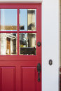 Crop Of Red Front Door With Reflection Stock Photography - 39177202