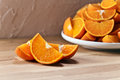 Cut Tangerines On Wooden Table Stock Photo - 39197990