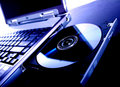 Laptop With A Disk Dvd Royalty Free Stock Photos - 3929088