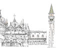 Venice Sketch Collection, Doge S Palace, San Marco And Tower Royalty Free Stock Photography - 39234507