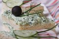 Useful Sandwiches With Soft Cheese And Herbs Macro Royalty Free Stock Images - 39242889