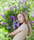 Happy Young Woman In Park With A Bouquet Of  Lilac Stock Image - 39253131