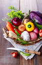 Organic Healthy Vegetables In The Rustic Basket Stock Photography - 39264212