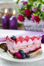 Pink Layer Cake Decorated With Fresh Fruits Royalty Free Stock Images - 39290089