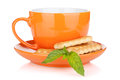 Cup Of Drink With Crackers And Mint Royalty Free Stock Image - 39306046