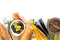 Italian Food Appetizer Of Olives, Bread And Spices Stock Image - 39306231