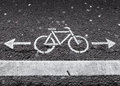 Bicycle Lane. White Road Marking With Arrows Royalty Free Stock Photography - 39321887