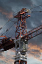 Industrial Red Crane, Sunset Background Royalty Free Stock Photography - 39325907