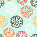 Seamless Pattern With Cartoon Flowers In Vector. Royalty Free Stock Photography - 39329997