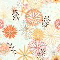 Seamless Pattern With Cartoon Flowers In Vector. Stock Image - 39330001