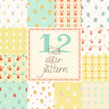 12 Cute Easter Vector Patterns (tiling) Stock Images - 39330024