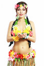 Girl With Hawaiian Accessories Stock Images - 39336414