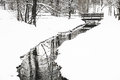 Little Snowy Creek And Bridge At Winter Time Royalty Free Stock Photos - 39353138