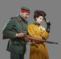 A German Soldier With The Lady On The Hunt Stock Photo - 39353280