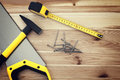 Work Tools On Wood Royalty Free Stock Photography - 39360537