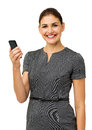 Happy Mid Adult Businesswoman Holding Smart Phone Royalty Free Stock Photography - 39365737