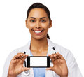 Happy Female Doctor Advertising Smart Phone Stock Images - 39367574