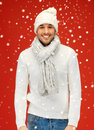 Handsome Man In Warm Sweater, Hat And Scarf Royalty Free Stock Images - 39372619