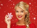 Lovely Woman In Red Dress With Snowflake Stock Photography - 39373942