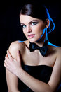 Beautiful Young Girl With Black Bow Tie Royalty Free Stock Photo - 39375065
