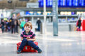 Little Boy Going On Vacations Trip With Suitcase At Airport Stock Photo - 39375990