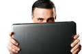 Man Hiding Behind Laptop Royalty Free Stock Image - 39390856