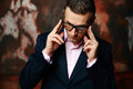 Cool Fashion Man In Glasses Standing Stock Photos - 39391293