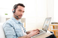 Young Relaxed Man Video-calling On Internet Stock Photo - 39397250