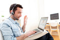 Young Relaxed Man Video-calling On Internet Royalty Free Stock Image - 39397256