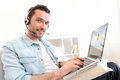 Young Relaxed Man Video-calling On Internet Royalty Free Stock Photos - 39397258
