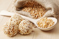 Macrobiotic Healthy Food: Balls From Ground Wheat  Royalty Free Stock Photos - 39398808