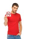 Man In Red Shirt With No Smoking Sign Stock Photography - 39399652