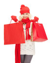 Young Girl With Shopping Bags Royalty Free Stock Photography - 39405837