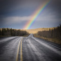 Rainbow Country Road Dark Yukon Nature Landscape Royalty Free Stock Photo - 39416545
