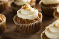 Homemade Carrot Cupcakes With Cream Cheese Frosting Stock Photos - 39434843