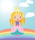 Little Nice Princess On Rainbow Stock Images - 39436574